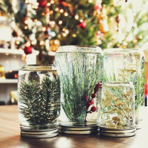 Dollar Store Mason Jar Globes by Make+Haus - 30 Incredible Dollar Store DIY Christmas Decor Ideas. Easy to make decorations that you can do on a small budget. Make beautiful and easy centrepieces, ornaments, candle holders and mason jar crafts. These awesome Dollar Tree DIY Christmas crafts are simple enough to be made with your kids. Just click on this to find out more or pin for later!