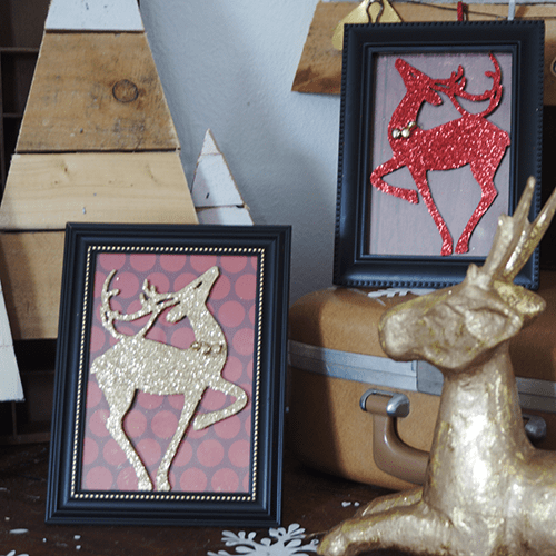 Dollar Store Framed Reindeer Silhouettes by Saved By Love Creations - 30 Incredible Dollar Store DIY Christmas Decor Ideas. Easy to make decorations that you can do on a small budget. Make beautiful and easy centrepieces, ornaments, candle holders and mason jar crafts. These awesome Dollar Tree DIY Christmas crafts are simple enough to be made with your kids. Just click on this to find out more or pin for later!