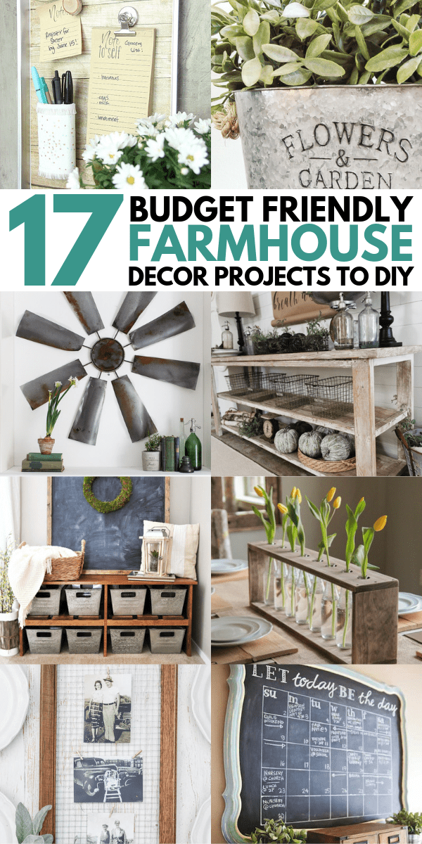 Easy DIY Farmhouse Decor Ideas Using Dollar Store Items. These cheap DIY rustic decor projects are perfect for your fixer upper style home.