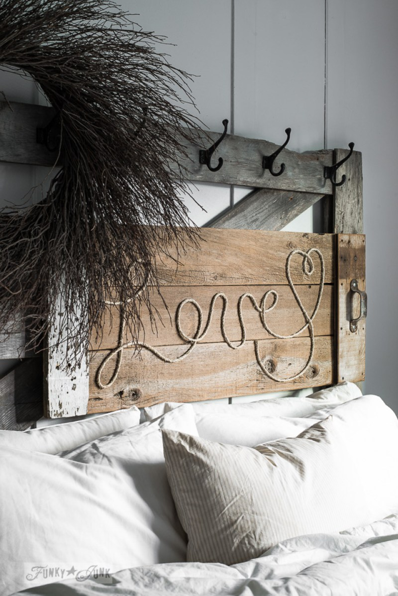 DIY Reclaimed Wood Rope Sign. 14 DIY Farmhouse Signs you can make on a small budget. Farmhouse decor can cost a lot but these rustic wood signs are affordable to make. If you love Joanna Gaines than you have to try these projects! Guide to how to make a farmhouse sign, farmhouse signs for kitchen, bathroom farmhouse sign DIY, DIY wood signs, Farmhouse Sign Decor, Make you own farmhouse sign, farmhouse signs DIY guide