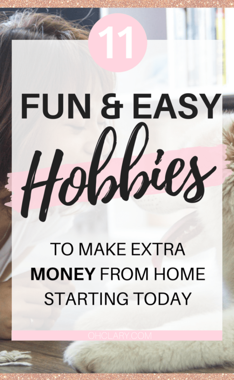 Are you looking for some easy and fun ways to make extra money online? Look no further! I have compiled a list of 11 hobbies to make money from home! These hobbies include DIY projects and crafts and other ways to make extra cash! These hobbies to make extra money are perfect for stay at home moms and students. Hobbies you can turn into side hustle, hobbies you can turn into career, money making hobby ideas, list of hobbies that make money, hobbies for stay at home mom to make money