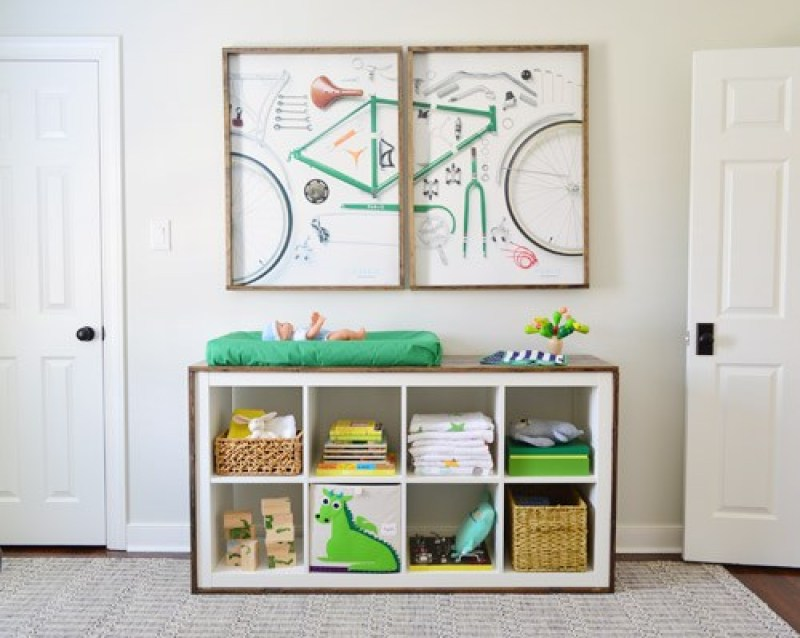 Ikea bookcase turned into changing table - 21 genius DIY IKEA Kallax hacks to organize your bedroom, playroom, kitchen, entryway, closet, and office. #ikeahack #ikeakallax #kallax #ikeafarmhouse #ikeaideas #ikea