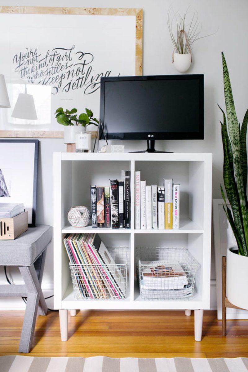 Ikea Kallax Media Stand - 21 genius DIY IKEA Kallax hacks to organize your bedroom, playroom, kitchen, entryway, closet, and office. #ikeahack #ikeakallax #kallax #ikeafarmhouse #ikeaideas #ikea