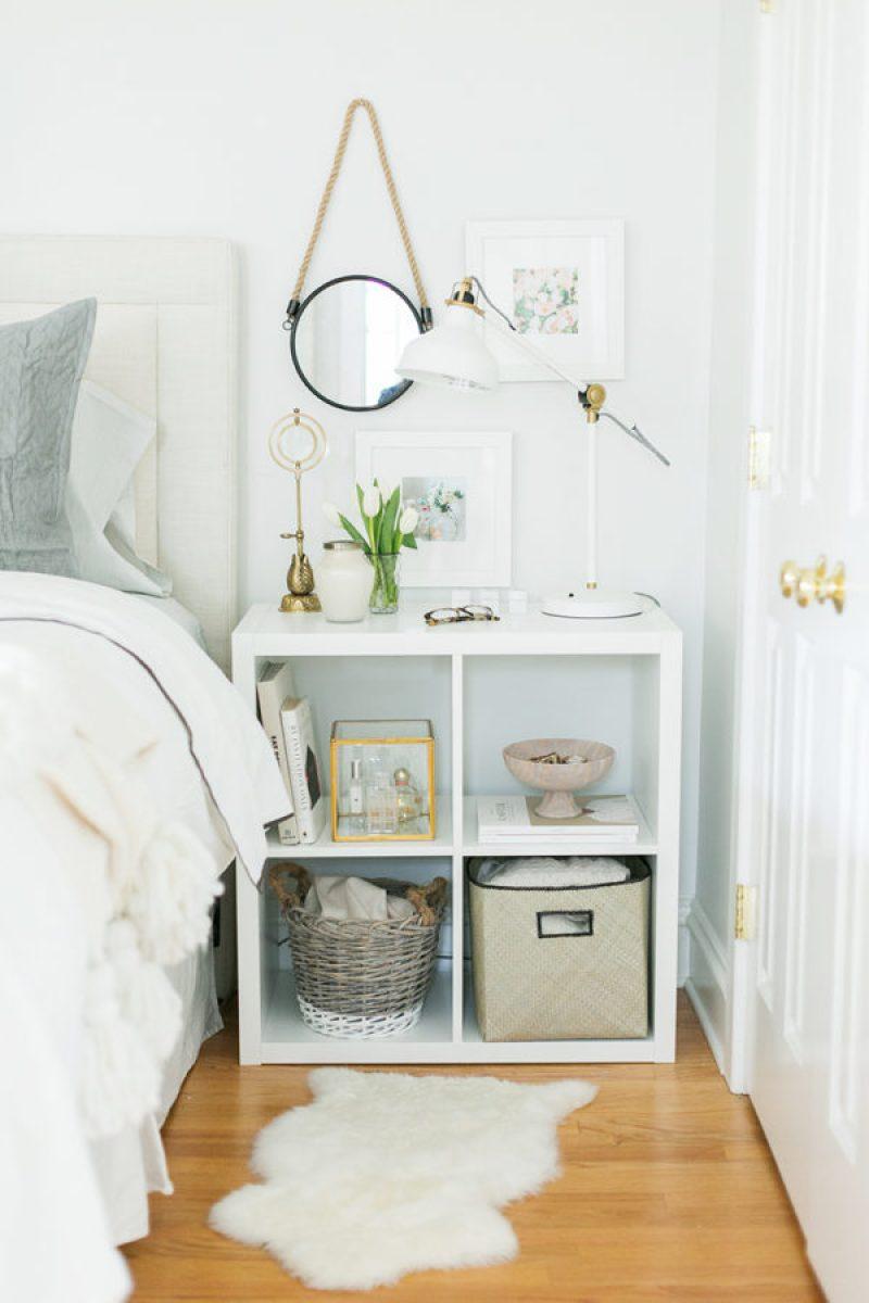 Ikea Kallax Hack Nightstand - 21 genius DIY IKEA Kallax hacks to organize your bedroom, playroom, kitchen, entryway, closet, and office. #ikeahack #ikeakallax #kallax #ikeafarmhouse #ikeaideas #ikea
