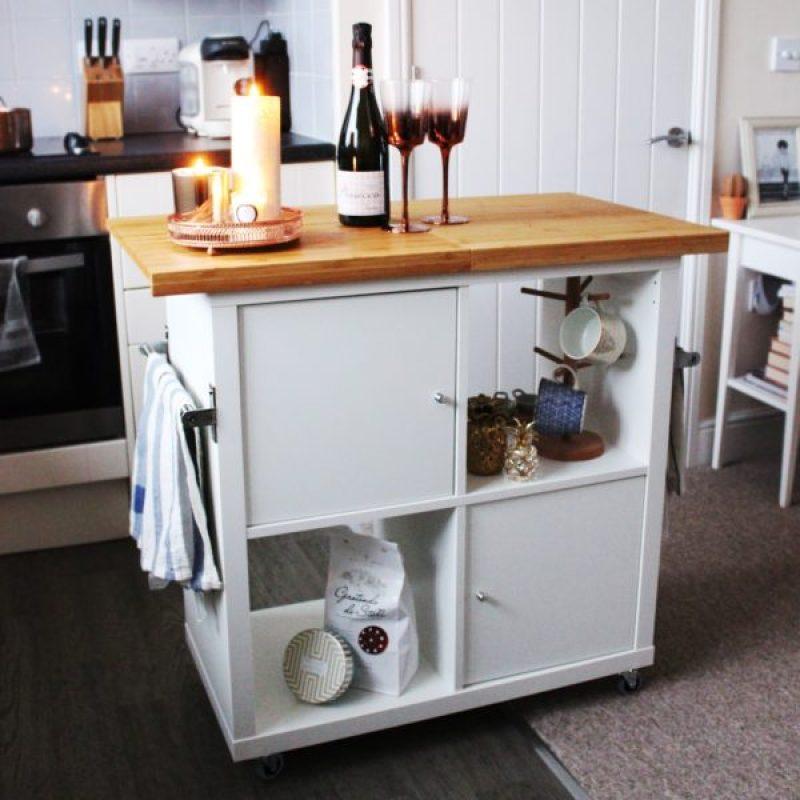 IKEA Kallax Kitchen Island Hack - 21 genius DIY IKEA Kallax hacks to organize your bedroom, playroom, kitchen, entryway, closet, and office. #ikeahack #ikeakallax #kallax #ikeafarmhouse #ikeaideas #ikea