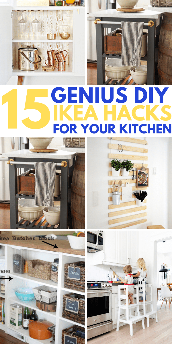 15 Brilliant IKEA HACKS for your kitchen. IKEA kitchen ideas and layout tips for more storage space and better organization. White kitchen decor ideas that are great for small apartments and for students on a budget. Try these IKEA kitchen hacks today to transform your kitchen! #ikeahacks