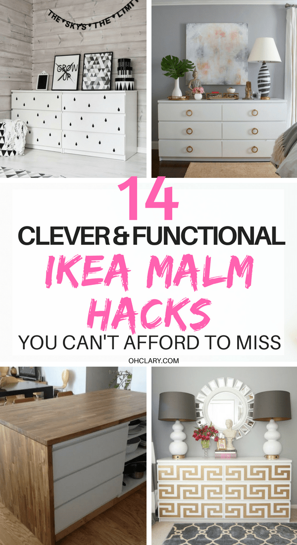 Are you wanting to spruce up the look of your IKEA Malm? Try these Ikea Malm hacks. From 5 minute changing out handles to spray painting the dresser. Make the malm into a dresser, nightstand, vanity, kitchen island or kids dresser. Or you could even add mirror overlays and gold paint for a glamorous look or turn it into a mid-century masterpiece. #ikeahack #ikea #ikeahacks #malm #malmdresser #diyhomedecorideas #diyhomedecor