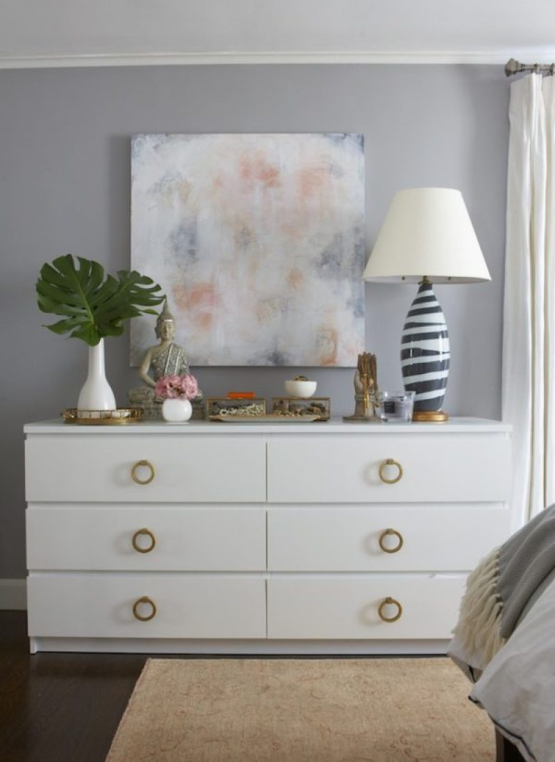 Simple IKEA Malm Hack - 14 Genius Ikea Malm Hacks. From 5 minute changing out handles to spray painting the dresser. Make the malm into a dresser, nightstand, vanity, kitchen island or kids dresser. Or you could even add mirror overlays and gold paint for a glamorous look or turn it into a mid-century masterpiece. #ikeahack #ikea #ikeahacks #malm #malmdresser #diyhomedecorideas #diyhomedecor
