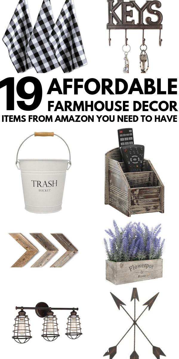 20+ Farmhouse Finds On Amazon That Are Affordable & Beautiful The 2019 guide! You really need to check out these Amazon farmhouse decor finds if you are looking at decorating your home on a budget with a modern farmhouse style. Get the fixer-upper look for less! #farmhousedecor #farmhousestyle