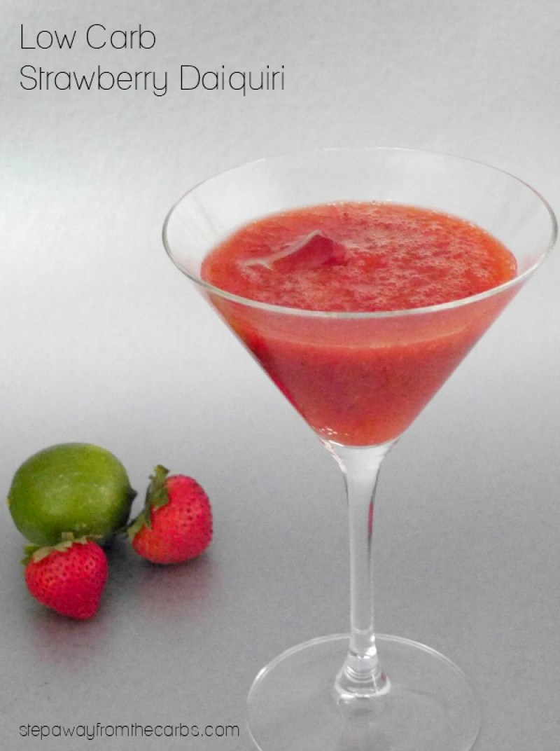 Low Carb Strawberry Daiquiri - Try these 13 irresistible low carb keto cocktail recipes. Keto alcohol drinks to let you enjoy a bit of booze without worrying about your diet. These keto cocktails include La Croix, vodka, rum, tequila and are all easy to make. #keto #ketoalcohol #ketogenicdiet #ketodrinks