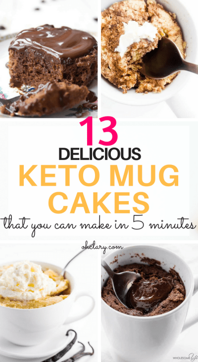 My Favorite Keto Mug Cakes. 13 Delicious Keto Mug Cake Recipes To Try Right Now. These low carb easy to make mug cakes are made with almond flour and chocolate and are microwaveable. Most of these ketogenic mug cakes have 3 ingredients or less. Recipes including lava cake, cinnamon roll cake, low carb brownie and keto vanilla mug cake. #ketomugcake #ketolavacake #lowcarbbrownies #lowcarb #lowcarbsweets #ketodesserts #ketocake