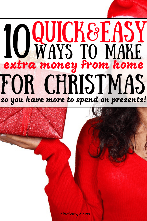 10 Real & Tested Ways to Earn Extra Cash For Christmas. Take the stress out of Christmas shopping by having some extra money saved. Christmas can be such an expensive holiday but these 10 easy wasy to make extra money for Christmas will greatly help you. Have a debt-free Christmas and make some quick cash for Christmas! #holidays #holidaycash #quickcash #moneyforchristmas #christmasmoney #christmassavings #sidehustles #sidehustle #extracash #makemoney