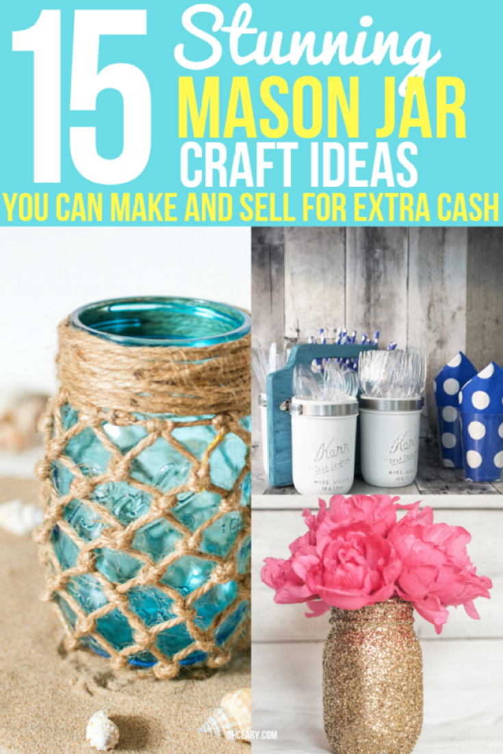 15 Mason Jar Crafts To Make And Sell For Extra Money. I love making extra cash from home by using mason jars and cheap dollar store items to create awesome and easy DIY mason jar home decor, Christmas decorations and gifts. These are perfect to be sold at Craft fair & Flea markets or even online on Etsy! Creative and unique mason jar crafts to sell you won't find anywhere else. Pin it for later! #crafts #diyhomedecor #workfromhome