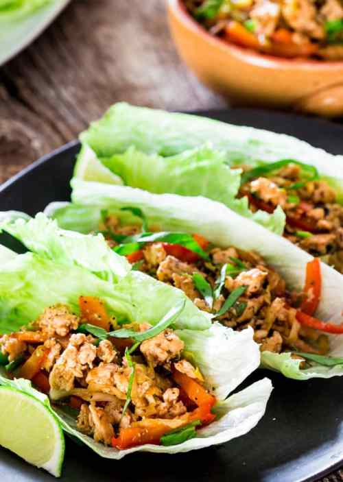 Thai Chicken Lettuce Wraps - 22 Of The Best Quick Keto Dinners. You won't believe how easy and delicious these recipes are. Low Carb recipes that can be made in the crockpot or a skillet. All of these drool-worthy recipes take 30 minutes or less to make. #keto #ketogenic #ketodiet #ketorecipes #dinnerrecipes #ketogenicdiet