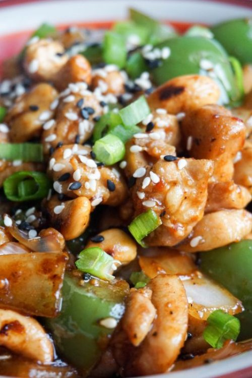 Easy Keto Cashew Chicken - 22 Of The Best Quick Keto Dinners. You won't believe how easy and delicious these recipes are. Low Carb recipes that can be made in the crockpot or a skillet. All of these drool-worthy recipes take 30 minutes or less to make. #keto #ketogenic #ketodiet #ketorecipes #dinnerrecipes #ketogenicdiet