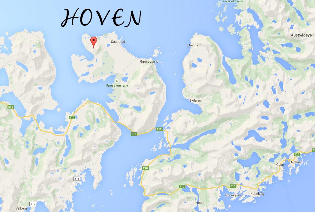 Karta till Hoven, Lofoten, Norway