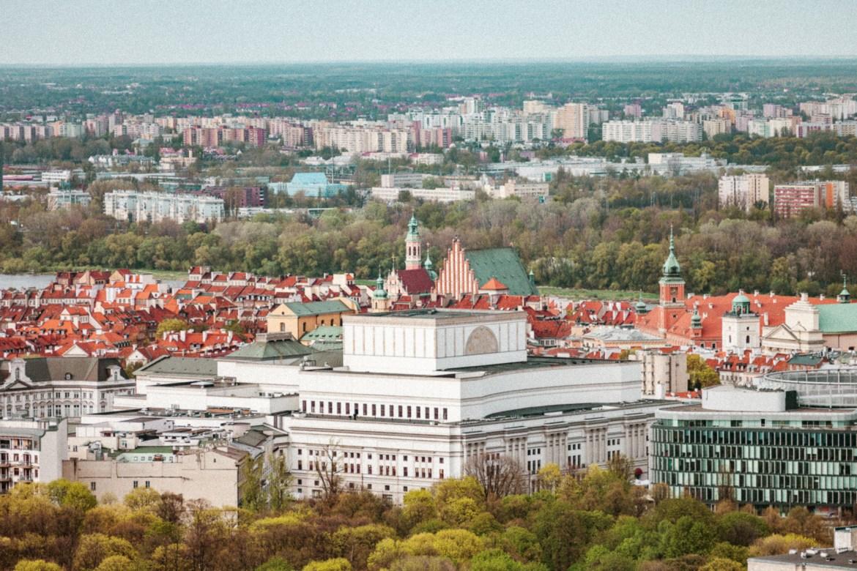Utsikt över Warszawa i Polen
