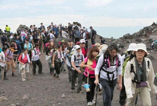Alpinistas no Monte Fuji