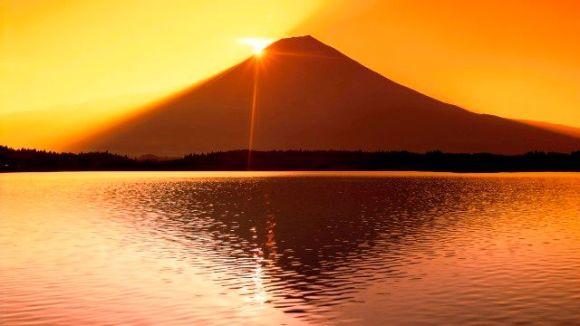 Amanhecer, sobre, mt fuji, e, Tanuki, lago, shizuoka, japão