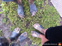 Those are our feet. Little did we know the mud jammed under our toenails would remain for weeks, no matter how hard we cleaned them. GOD! Why did we do this again?