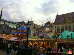 We just happened to show up on the last day of the Bremen Freimarkt. Odd mix of medieval buildings and fatty foods.