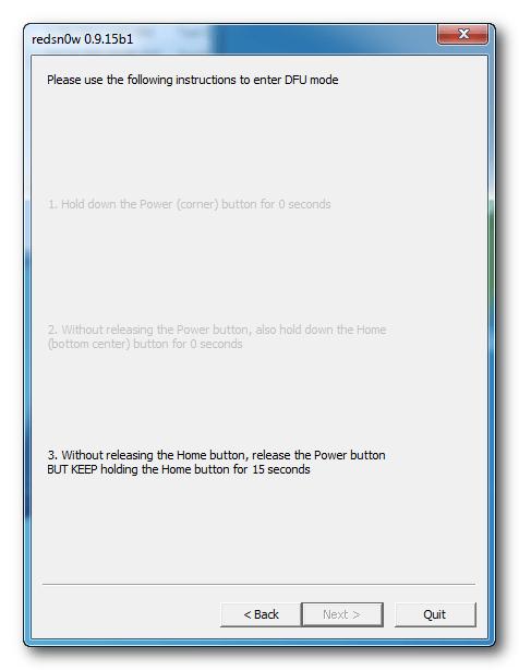 Redsn0w: DFU Mode instructions