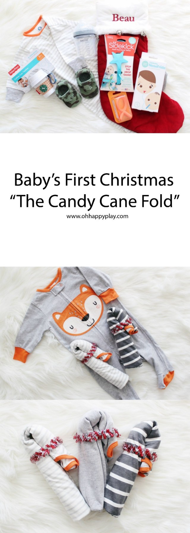 The perfect essentials you need for your Baby's First Christmas! Plus see how to fold onesies like a candy cane! Check it out!