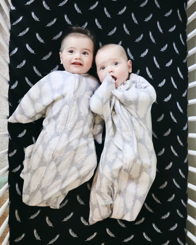 twins on blanket