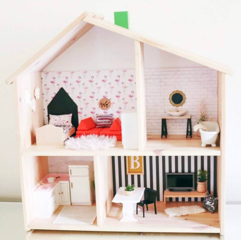 custom dollhouse, diy dollhouse, modern dollhouse, dollhouse for little girls, November oak minis, Ikea dollhouse hack, dollhouse hack