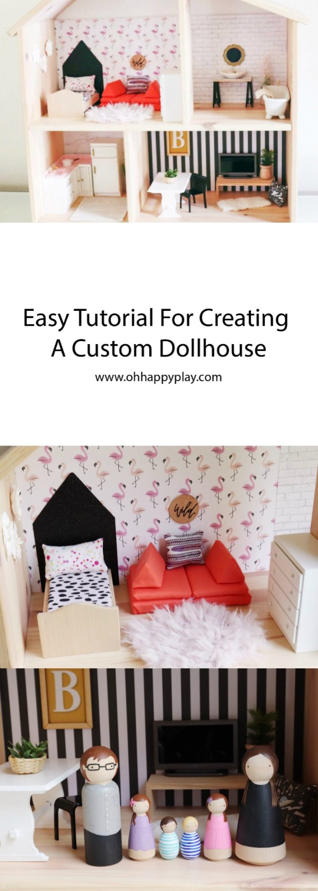 Oh Happy Play, Florida Motherhood blogger shares an easy tutorial for creating a custom dollhouse. Check it out now to find out how to build one yourself!