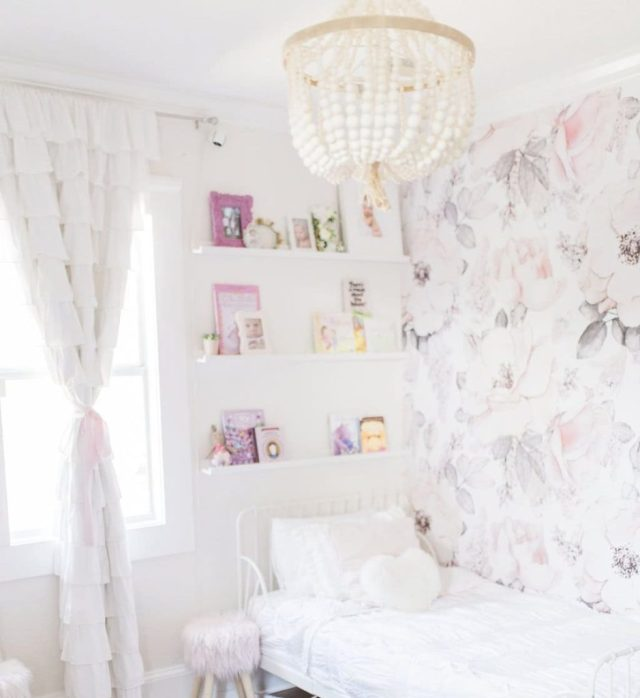 floral accent wall, toddler room, baby room, nursery, girl room, boy room, floor bed, montessori floor bed, kids decor, kids dream room, toddler bed, kids bed, house frame bed, teepee, kids fort, playroom, kids playroom, dream playroom, DIY house frame floor bed, DIY house bed, DIY floor bed, floor beds for toddlers, boho chic girls room, little girls room, dreamy girls bedroom, girl bedroom design