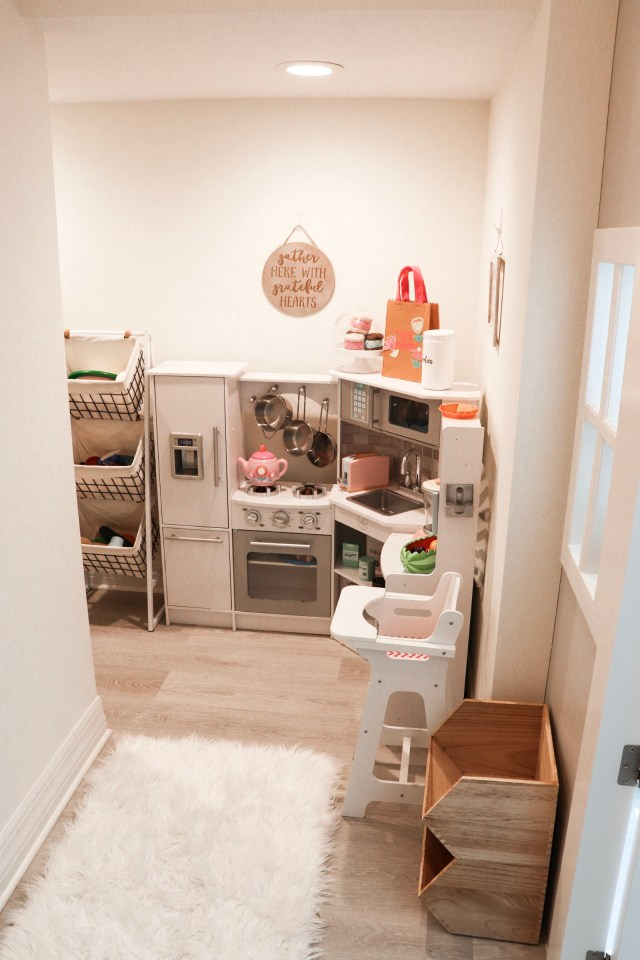 under the stairs playhouse, play kitchen, play food, play kitchen storage, playroom storage, Kidkraft corner kitchen