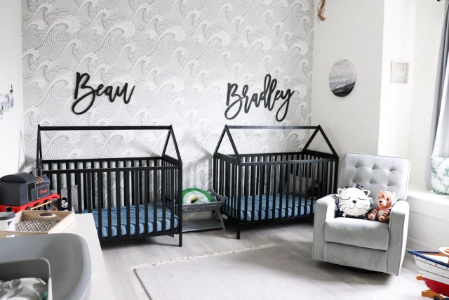 modern wave wallpaper, house frame cribs, boy nursery, nursery themes, boy nursery decor, nursery for twins, wooden name signs, beach themed nursery