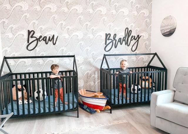 twin boy nursery, house frame cribs, boy nursery, nursery themes, boy nursery decor, nursery for twins, beach themed nursery, house toddler bed, house frame bed for toddlers, modern house cribs, modern cribs for baby, stokke crib knock off, stokke crib dupe
