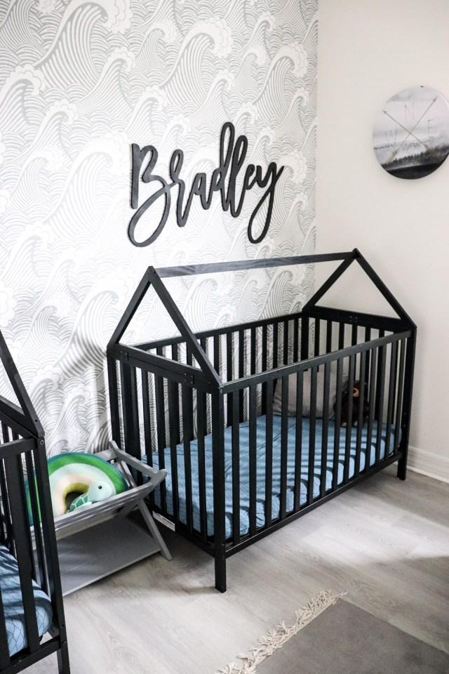 twin boy nursery, house frame cribs, boy nursery, nursery themes, Union 3-in-1 Convertible Crib, ebony, boy nursery decor, nursery for twins, beach themed nursery, house toddler bed, house frame bed for toddlers, modern house cribs, modern cribs for baby, stokke crib knock off, stokke crib dupe