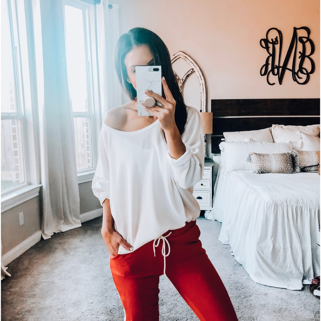 oversized, draped women's top with joggers