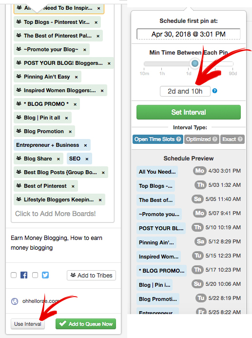 Tailwind Interval Scheduling for Pinterest