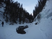 View from the bottom of the canyon along the frozen creek