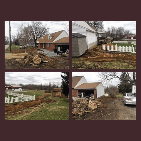 Here are 4 photos of the exterior waterproofing project which has left this homeowner's yard a mess for several months.