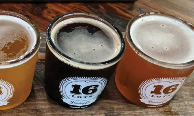 Flight of 3 beers from 16 Lots Brewing Company.