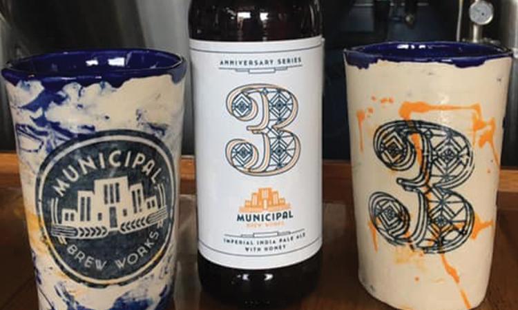 Municipal Brew Works - 3rd Anniversary double IPA and stoneware mugs