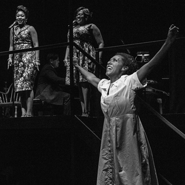 """Tantrum Theater performs Caroline, Or Change—a musical set in the civil rights era—during the summer 2017 season. The Columbus Dispatch described the show as a """"powerful but challenging exploration of family, race, and class in America."""" Photo by Daniel Winters, BFA '04, MFA '09."""