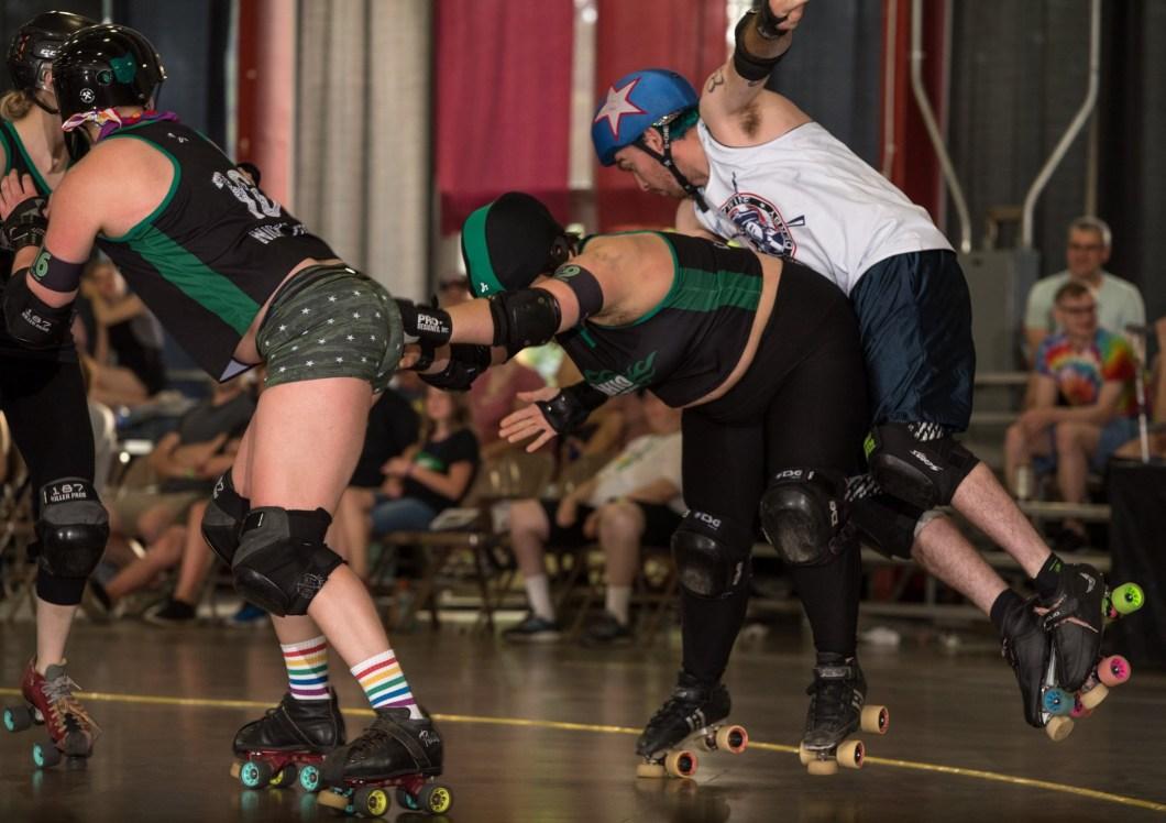 Rage putting jammer airborne GG v Brawlers 6.8.19 Chris Baker