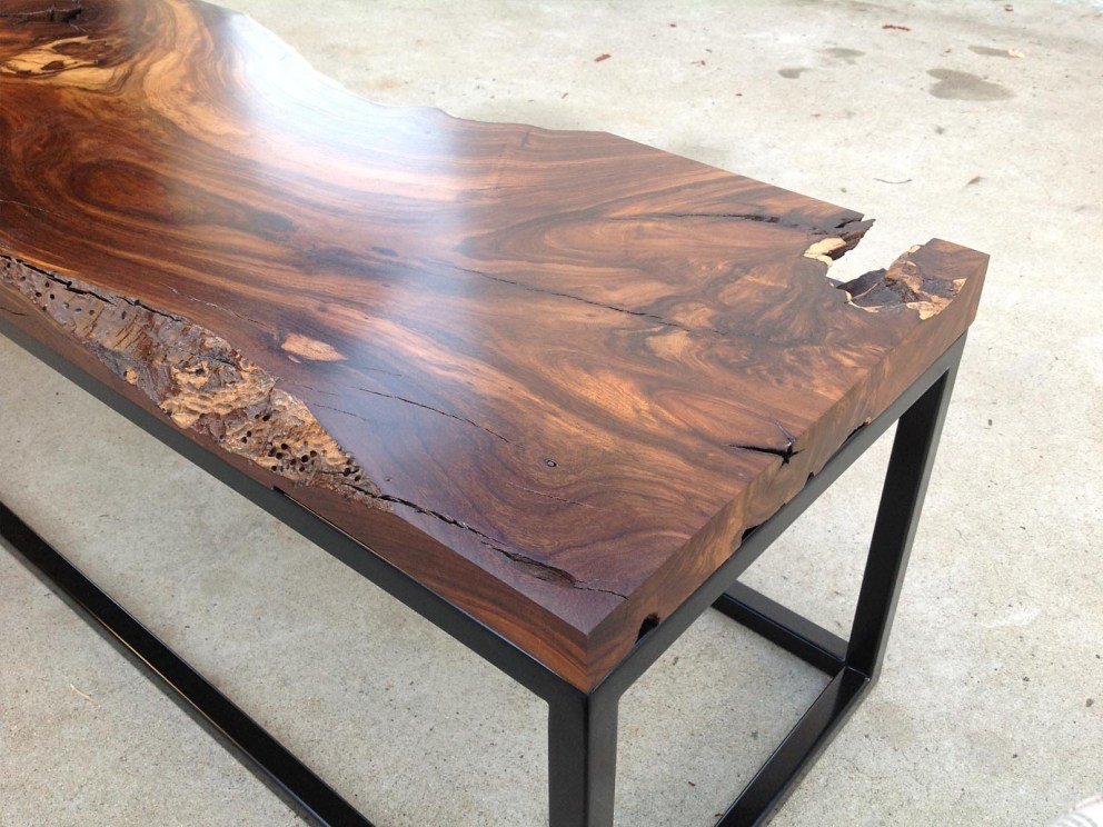 black walnut slab table with metal base