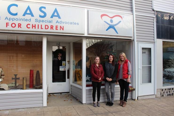 (L to R) CASA staffers Erin Jordan and Susan Harrison with volunteer Tessa Ditirro in Moundsville, West Virginia.