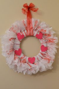 DIY Recycled Plastic Bag Rag Wreath For Valentines Day