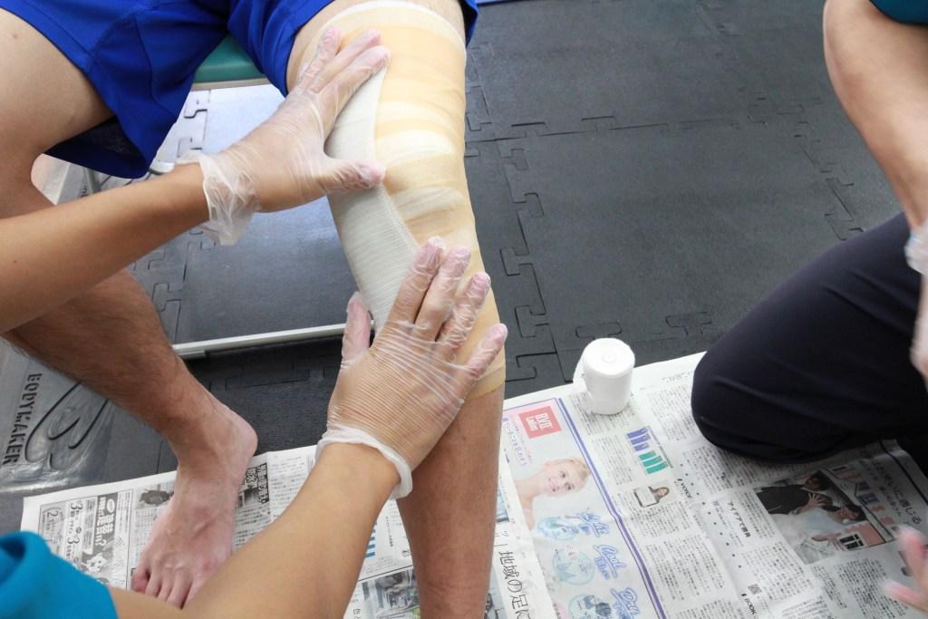 新中野大木接骨院で内側副靭帯損傷と半月板損傷の固定