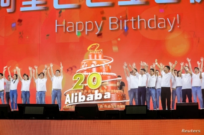 FILE - Jack Ma attends Alibaba's 20th anniversary party at a stadium in Hangzhou, Zhejiang province, China, Sept. 10, 2019.