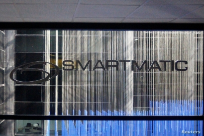 The corporate logo of Smartmatic is seen at its offices in Caracas, Venezuela August 2, 2017. REUTERS/Christian Veron