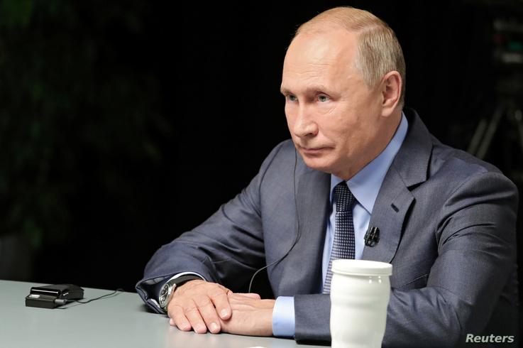 Russian President Vladimir Putin gives an interview with Al-Arabiya, Sky News Arabia and RT Arabic